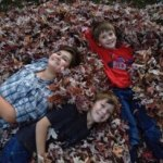 The kids in the leaves