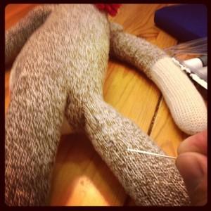 Noah's Sock Monkey...a previous repair.