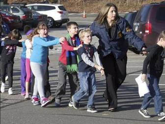 Photo from Newtown via the Newtown Bee, and the Associated Press